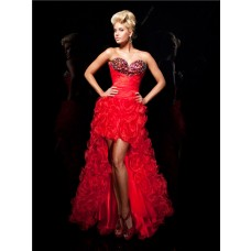 Fashion Sweetheart High Low Red Organza Floral Party Prom Dress With Beaded