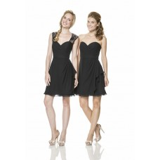 Fashion Sweetheart Open Back Short Little Black Chiffon Lace Bridesmaid Dress