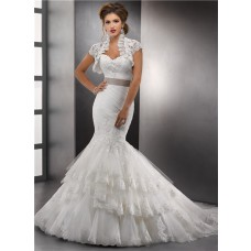 Fashion Trumpet/ Mermaid Sweetheart Layered Lace Wedding Dress With Jacket Sash Chapel Train