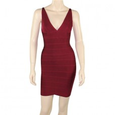 Fashion V Neck Short Mini Burgundy Red Bodycon Bandage Evening Dress
