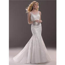 Fit And Flare Mermaid Illusion Bateau Neckline Lace Wedding Dress