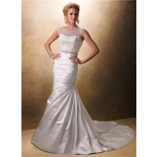 Fit And Flare Mermaid Illusion Neckline Beaded Satin Wedding Dress With Buttons