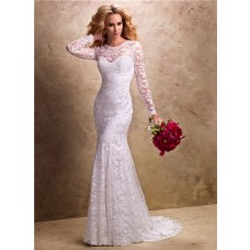 Fit And Flare Mermaid Illusion Neckline Long Sleeve Lace Wedding Dress