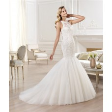 Fit And Flare Mermaid Scoop Neck Sleeveless Lace Tulle Wedding Dress