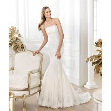 Fit And Flare Mermaid Strapless Beaded Lace Tulle Wedding Dress