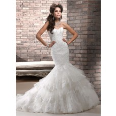 Fit And Flare Mermaid Sweetheart Corset Back Layered Tulle Lace Wedding Dress
