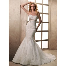Fit And Flare Mermaid Sweetheart Lace Wedding Dress With Sash Buttons