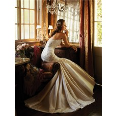 Fit And Flare Mermaid Sweetheart Low Back Ruched Taffeta Lace Beaded Wedding Dress