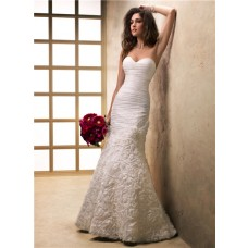 Fit And Flare Mermaid Sweetheart Textured Organza Floral Wedding Dress Corset Back