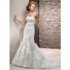 Fit And Flare Mermaid Sweetheart Vintage Lace Beaded Sequin Wedding Dress With Sash
