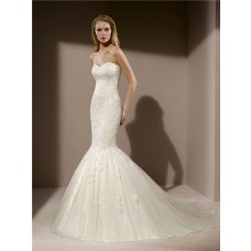 Fit And Flare Trumpet Mermaid Vintage Lace Tulle Wedding Dress Court Train