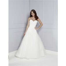 Fit And Flare Trumpet Strapless Sweetheart Tulle Lace Applique Beaded Wedding Dress With Train