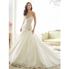 Fit And Flare Trumpet Sweetheart Neckline Taffeta Lace Crystal Corset Wedding Dress