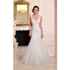Fit And Flare V Neck Open Back Venice Lace Tulle Wedding Dress With Straps
