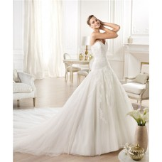 Fitted A Line Princess Sweetheart Lace Tulle Wedding Dress With Long Train