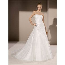 Fitted A Line Strapless Draped Organza Applique Beaded Crystal Wedding Dress Corset Back