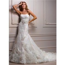 Fitted A Line Strapless Lace Dream Wedding Dress With Organza Flowers Sash Bow