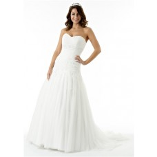 Fitted A Line Strapless Sweetheart Lace Tulle Draped Corset Wedding Dress Beading Buttons
