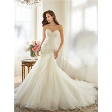 Fitted A Line Strapless Sweetheart Layered Organza Lace Corset Wedding Dress Detachable Straps