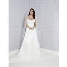 Fitted A Line Strapless Sweetheat Satin Lace Beaded Wedding Dress With Buttons
