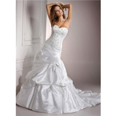Fitted A Line Sweetheart Beaded Lace Taffeta Wedding Dress Corset Back