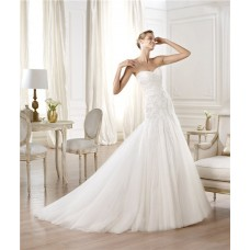 Fitted A Line Sweetheart Beaded Lace Tulle Wedding Dress With Ruching