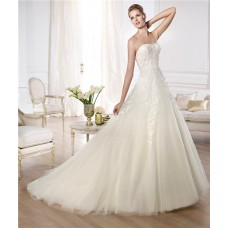 Fitted A Line Sweetheart Low Back Beaded Lace Layered Tulle Wedding Dress