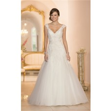 Fitted A Line V Neck Cap Sleeve Tulle Lace Beaded Wedding Dress With Sash