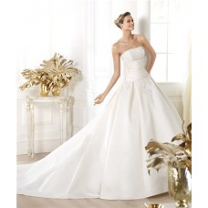 Fitted Ball Gown Strapless Satin Lace Wedding Dress With Chapel Train Buttons