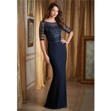 Fitted Bateau Neckline Navy Blue Chiffon Beaded Formal Evening Dress With Sleeves