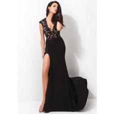 Fitted Deep V Neck Cap Sleeve High Slit Long Black Chiffon Lace Evening Prom Dress