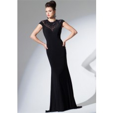 Fitted High Neck Cap Sleeve Keyhole Open Back Black Jersey Beaded Long Evening Dress