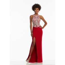 Fitted High Neck Long Red Jersey Embroidery Prom Dress With Slit