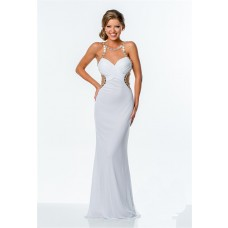 Fitted Illusion Neckline Low Back White Beaded Long Prom Dress Side Cut Out