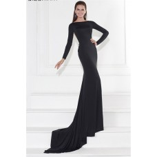Fitted Long Sleeve Sheer Illusion Back Black Jersey Evening Prom Dress