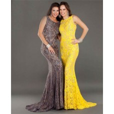 Fitted Mermaid Backless Long Brown Lace Beaded Evening Prom Dress