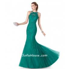 Fitted Mermaid High Neck Green Tulle Lace Applique Evening Prom Dress
