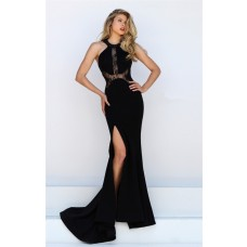 Fitted Mermaid High Slit Black Satin Lace Prom Dress