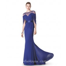 Fitted Mermaid Illusion Neckline Long Purple Chiffon Beaded Formal Evening Dress With Belt