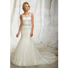 Fitted Mermaid Illusion Neckline Sheer Back Lace Wedding Dress With Straps Train