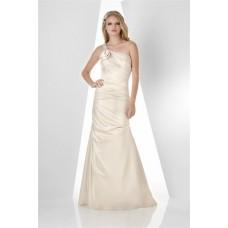 Fitted Mermaid One Shoulder Strap Long Ivory Taffeta Wedding Guest Bridesmaid Dress