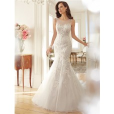 Fitted Mermaid Sheer Illusion Boat Neckline See Through Back Lace Beaded Wedding Dress