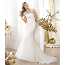 Fitted Mermaid Sheer Illusion Neckline Cap Sleeve Open Back Tulle Lace Wedding Dress