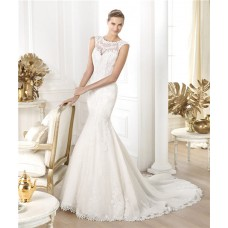 Fitted Mermaid Sheer Illusion Scoop Neckline Sleeveless Lace Wedding Dress