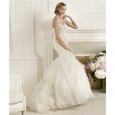 Fitted Mermaid Strapless Feather Neckline Lace Layered Tulle Wedding Dress