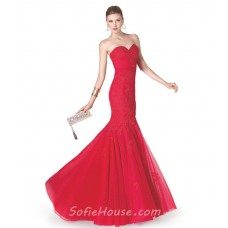 Fitted Mermaid Strapless Sweetheart Red Tulle Lace Long Evening Prom Dress