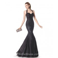 Fitted Mermaid Sweetheart Halter Black Tulle Lace Beaded Long Evening Prom Dress