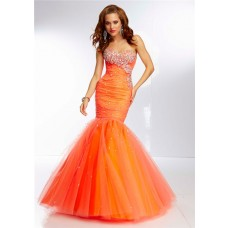 Fitted Mermaid Sweetheart Long Bright Orange Tulle Beaded Prom Dress Corset Back