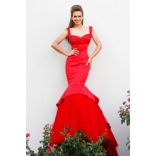 Fitted Mermaid Sweetheart Long Red Satin Tulle Couture Prom Dress With Straps