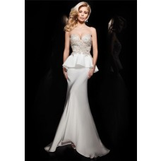 Fitted Mermaid Sweetheart Long White Chiffon Lace Beaded Formal Peplum Prom Dress